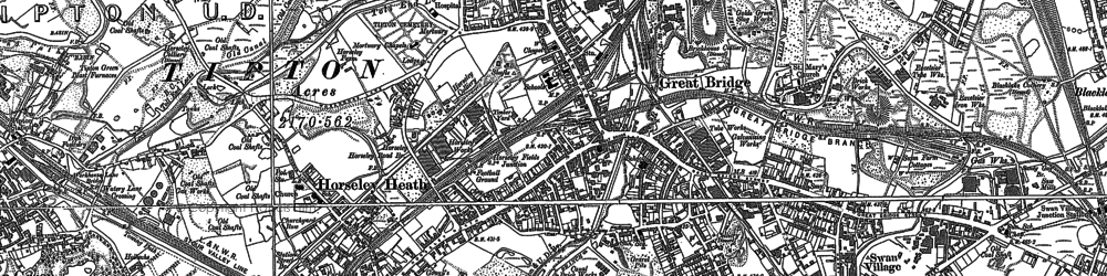 Old map of Toll End in 1885