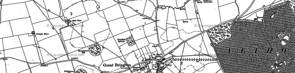 Old map of Great Brington in 1884
