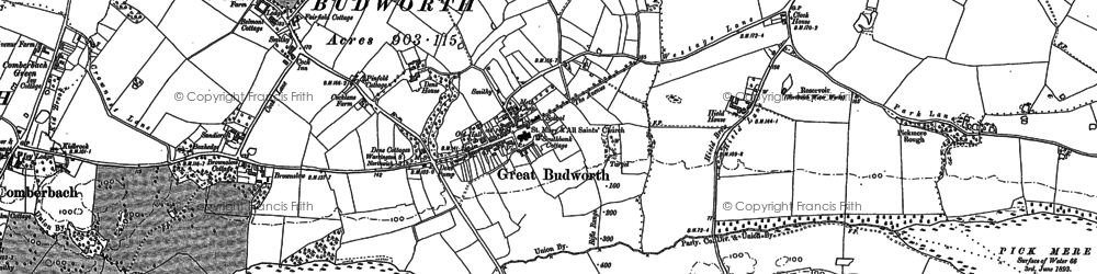 Old map of Great Budworth in 1897