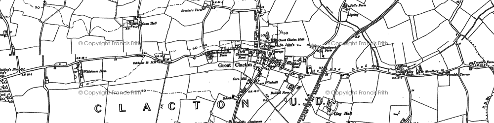 Old map of Great Clacton in 1896