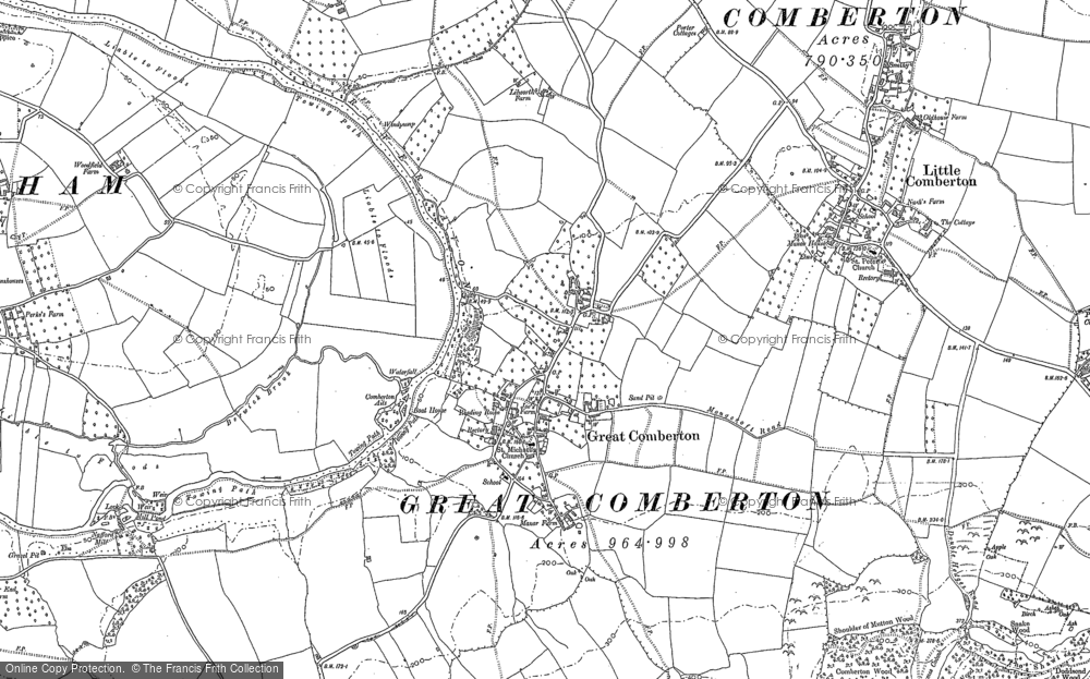 Old Map of Historic Map covering Banbury Stone in 1884
