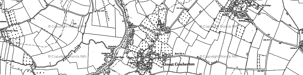 Old map of Great Comberton in 1884