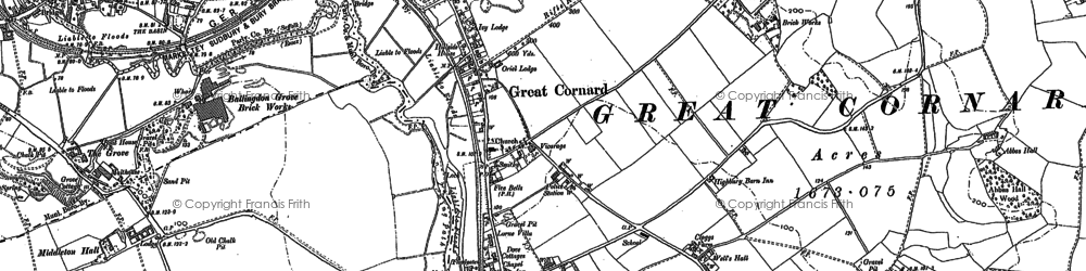 Old map of Great Cornard in 1885