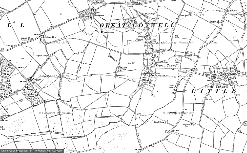 Old Map of Great Coxwell, 1898 - 1910 in 1898