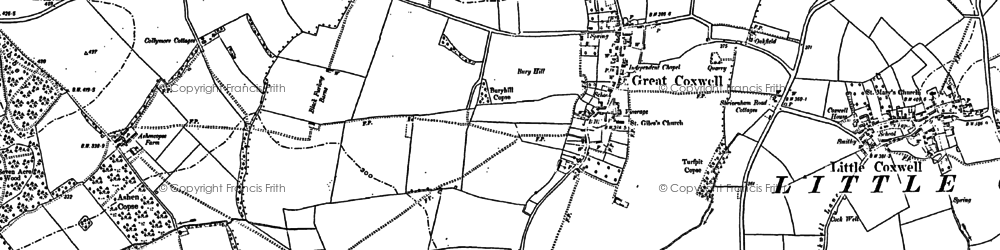 Old map of Badbury in 1898