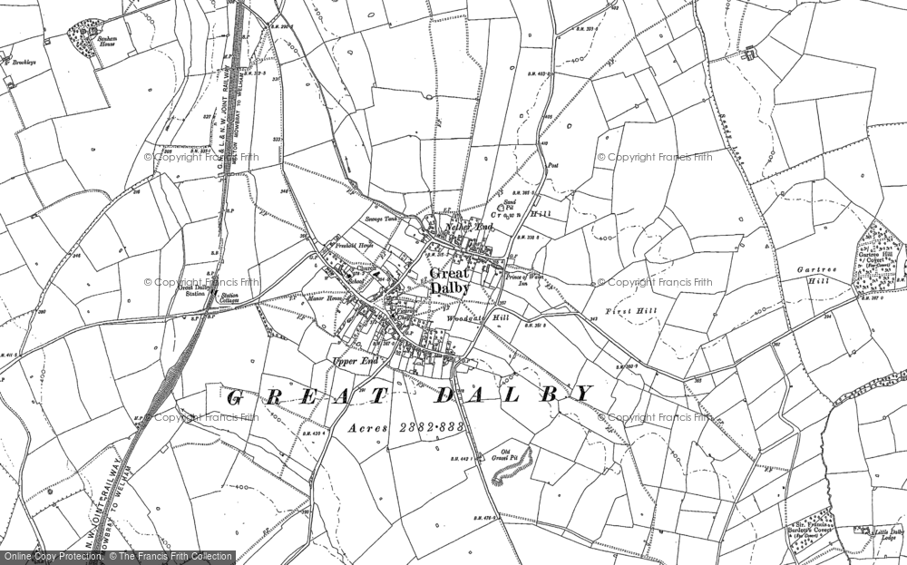 Old Map of Historic Map covering Woodgate Hill in 1884