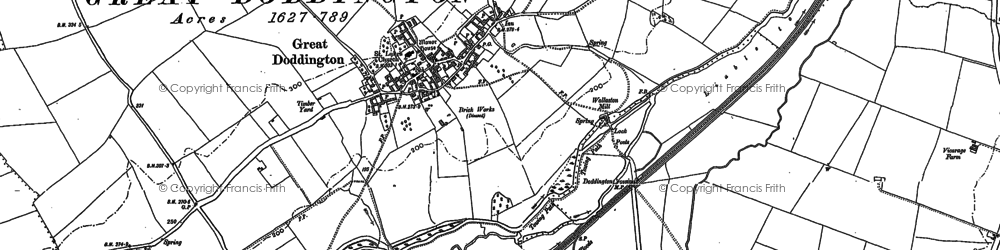 Old map of Great Doddington in 1885