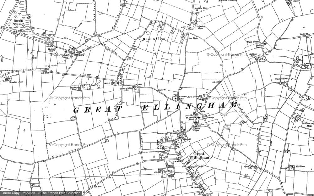 Map of Great Ellingham, 1882