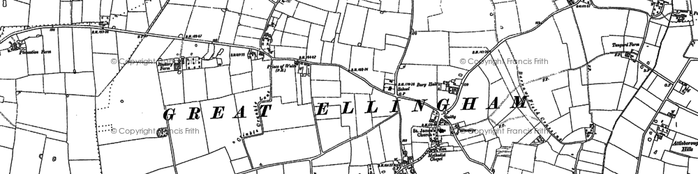 Old map of Attleborough Hills in 1882