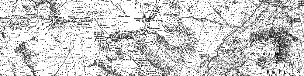 Old map of Aaron Crags in 1897