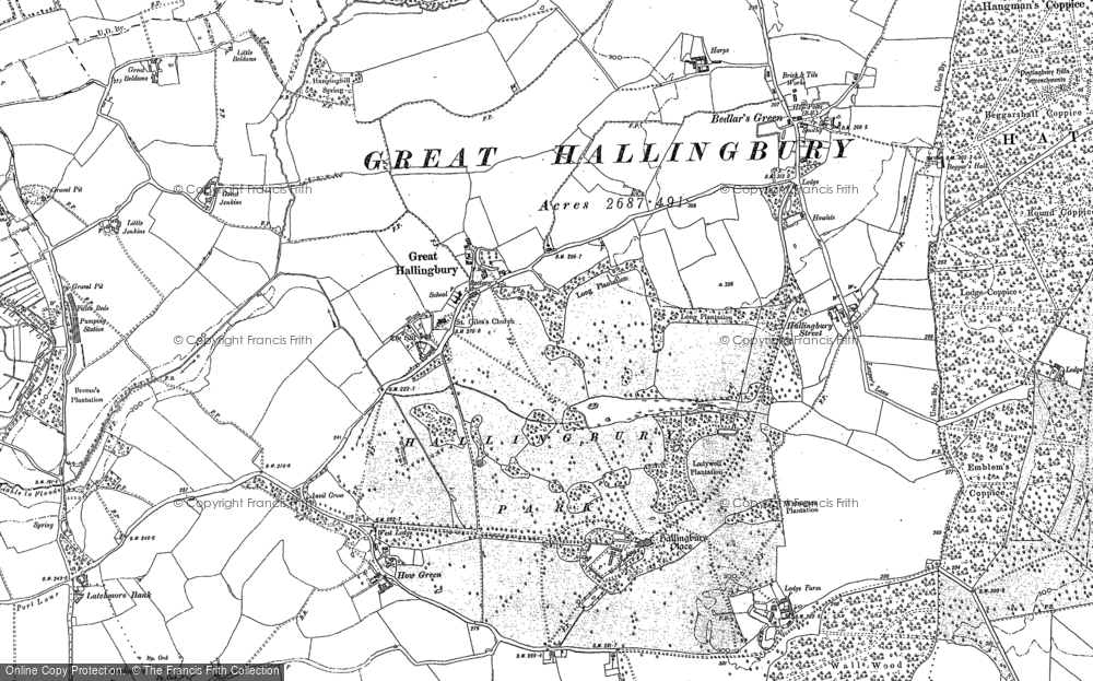 Old Map of Historic Map covering Woods, The in 1895