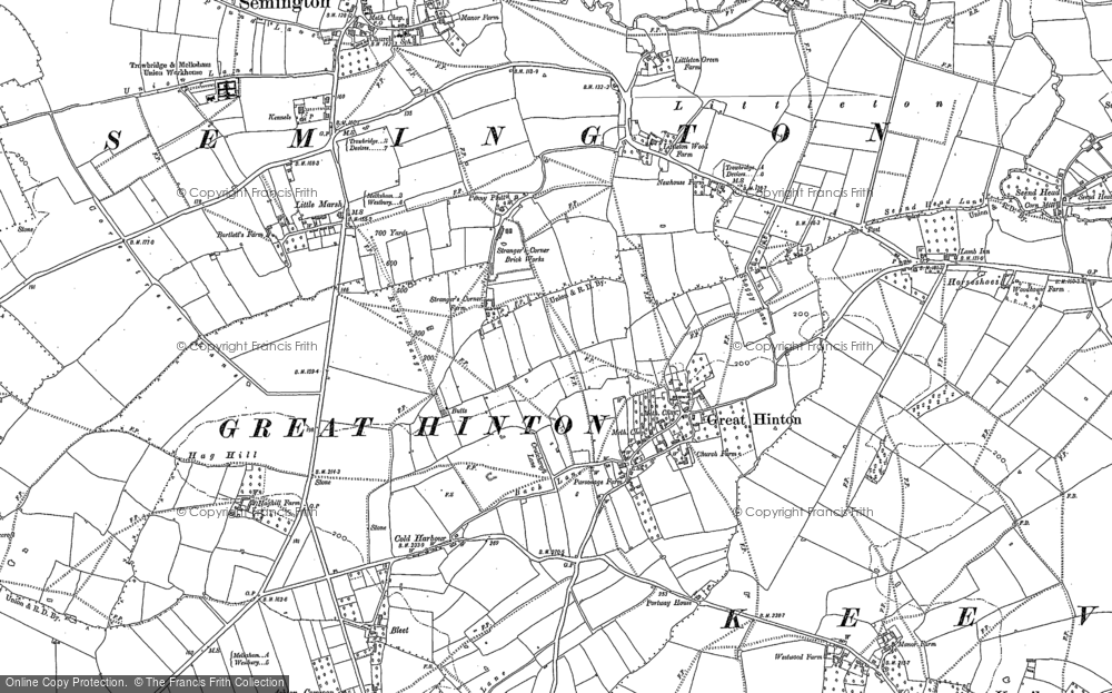 Old Map of Historic Map covering Ashton Common in 1899