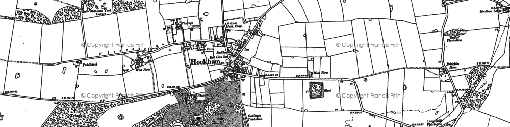 Old map of Great Hockham in 1882