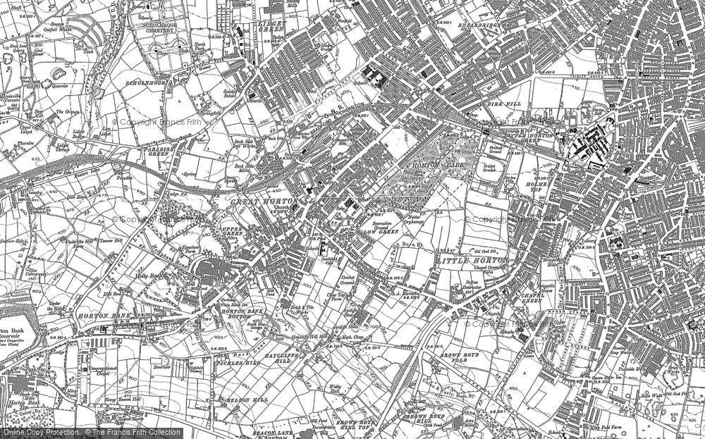 Old Map of Great Horton, 1890 - 1891 in 1890
