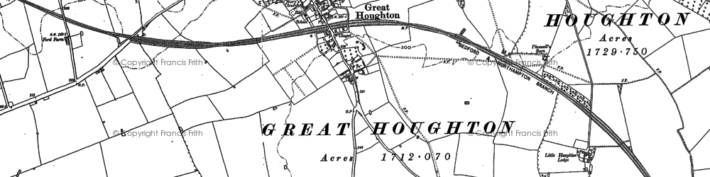 Old map of Great Houghton in 1884