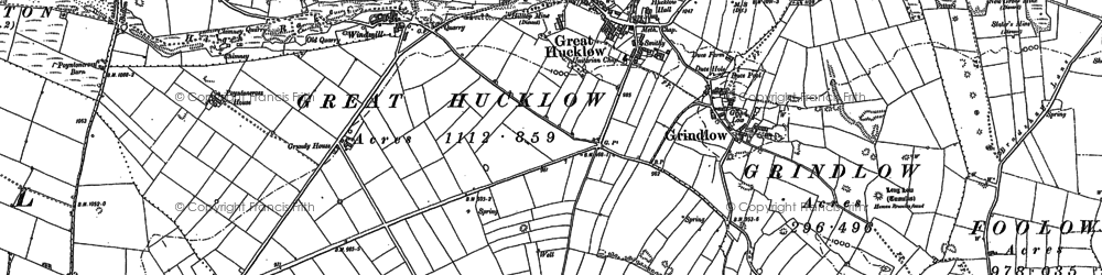 Old map of Great Hucklow in 1880