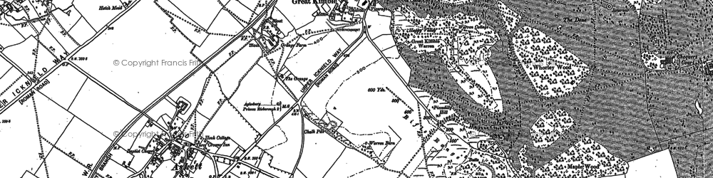 Old map of Whiteleaf Cross in 1897