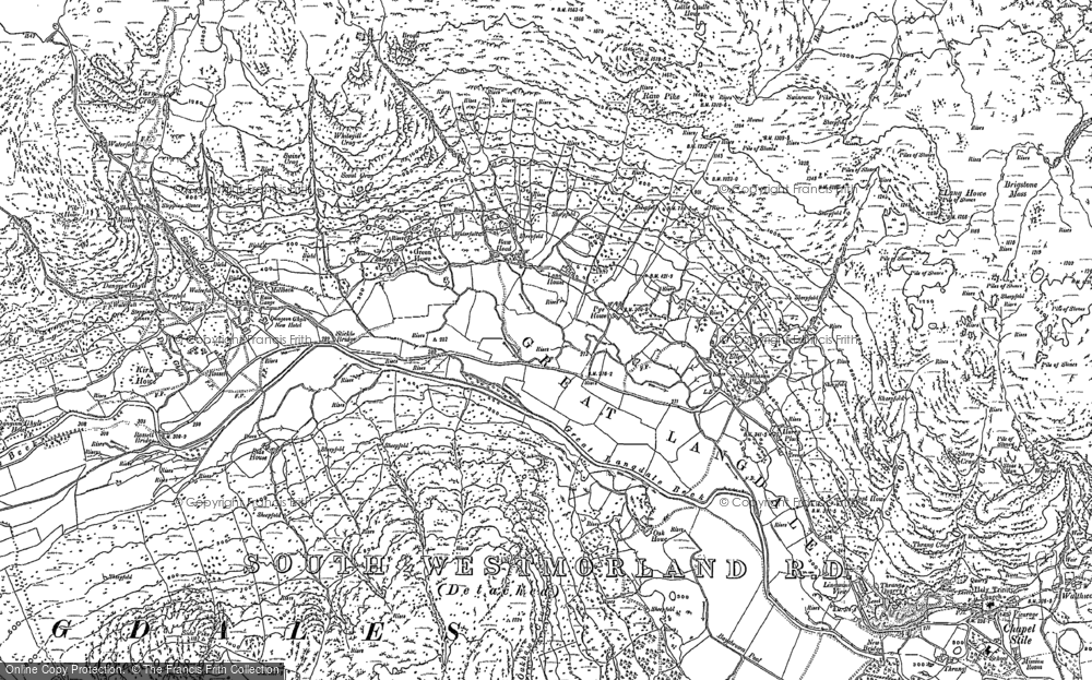 Old Map of Historic Map covering Lingmoor Tarn in 1898