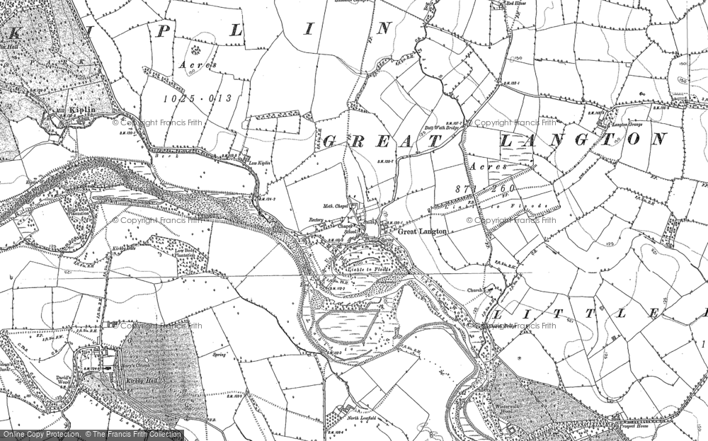 Old Map of Historic Map covering Langton Wood in 1891