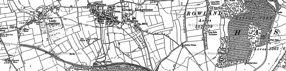 Old map of Great Longstone in 1878