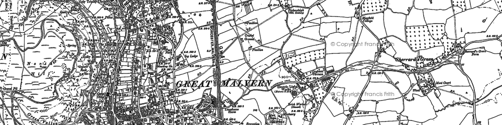 Old map of Malvern Link in 1884