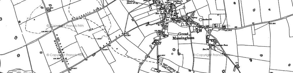 Old map of Great Massingham in 1884