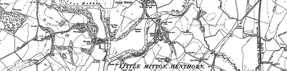 Old map of Great Mitton in 1892