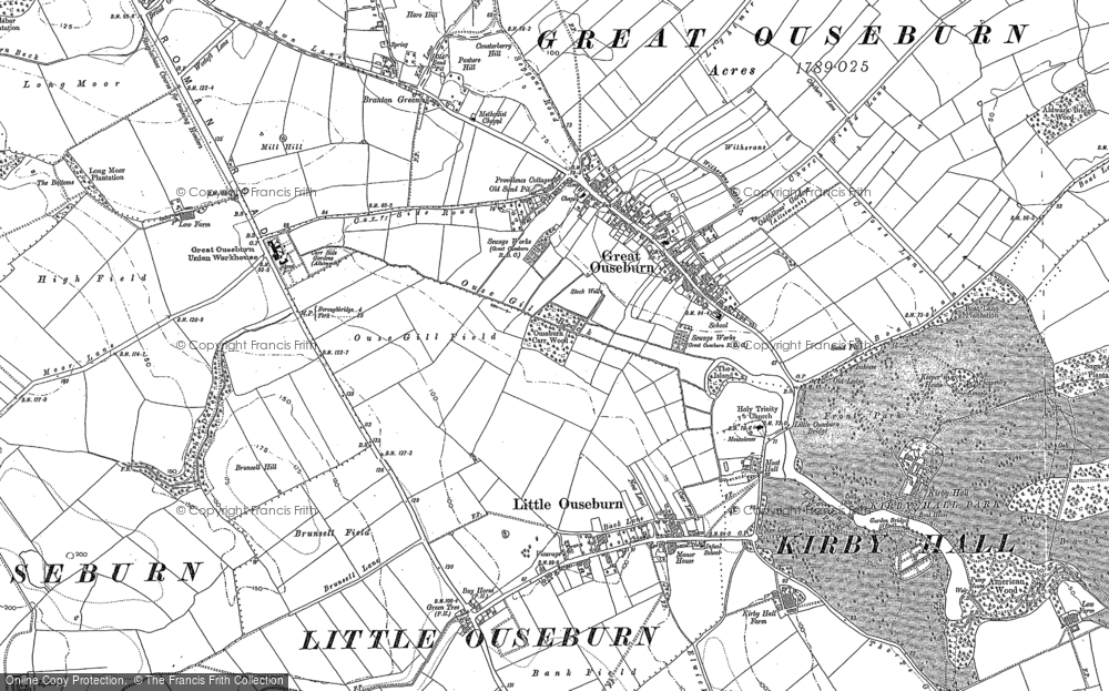 Old Map of Historic Map covering Aldwark Br Toll in 1892