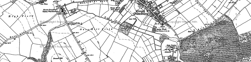 Old map of Great Ouseburn in 1892