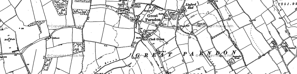 Old map of Great Parndon in 1895