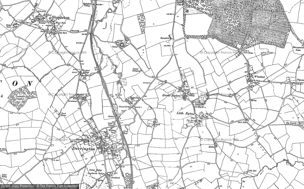 Old Map of Great Ryton, 1882 in 1882