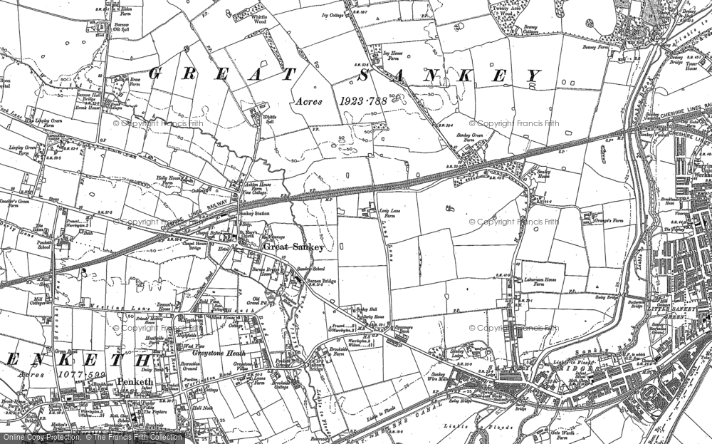 Old Map of Historic Map covering Lingley Green in 1891