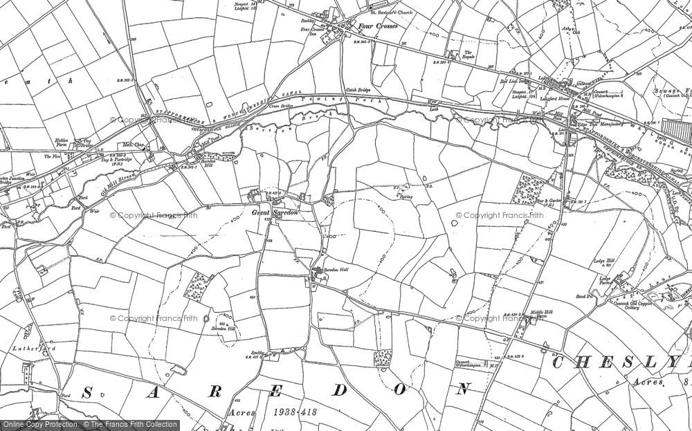 Old Map of Great Saredon, 1883 in 1883