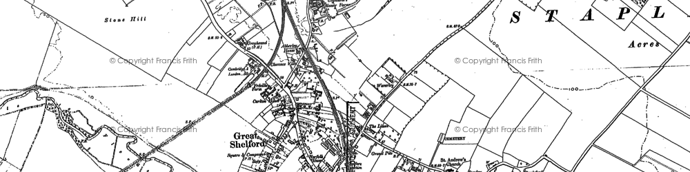 Old map of Great Shelford in 1885