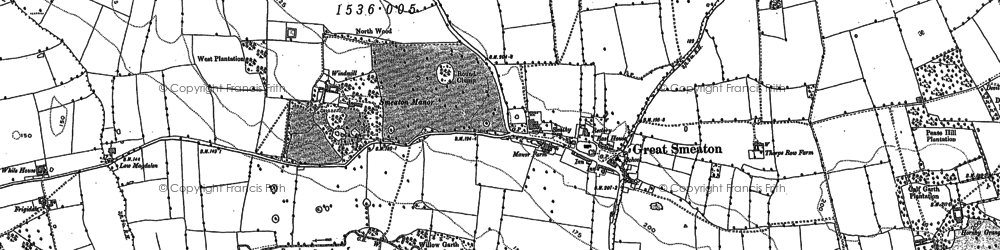 Old map of Great Smeaton in 1892