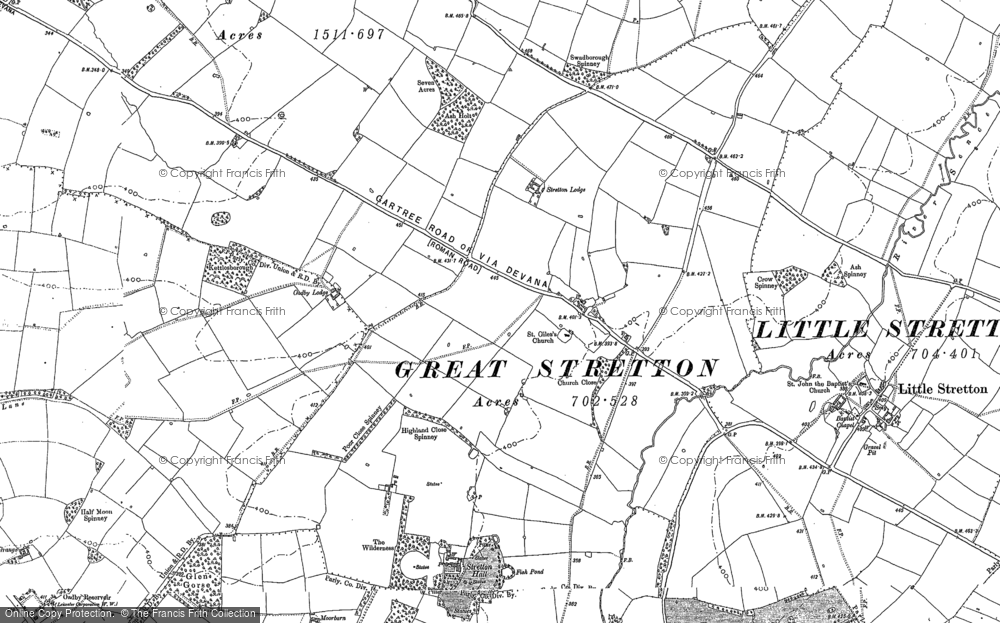 Old Map of Historic Map covering Leicester Airport in 1885