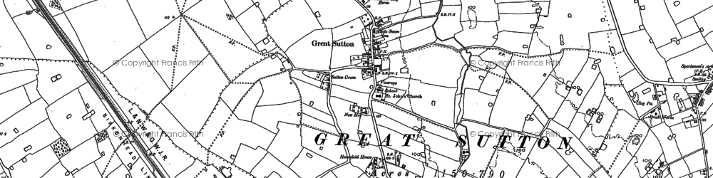 Old map of Great Sutton in 1897