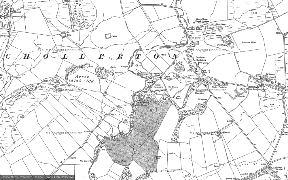 Old Map of Historic Map covering Wheathill in 1895