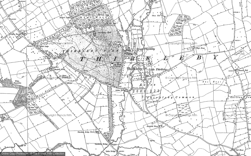 Old Map of Historic Map covering Balk Grange in 1890