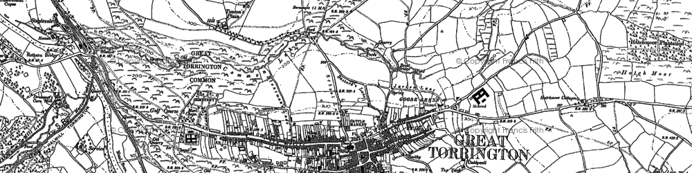 Old map of Great Torrington in 1886