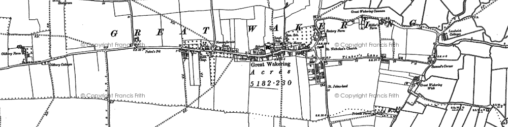 Old map of Great Wakering in 1895