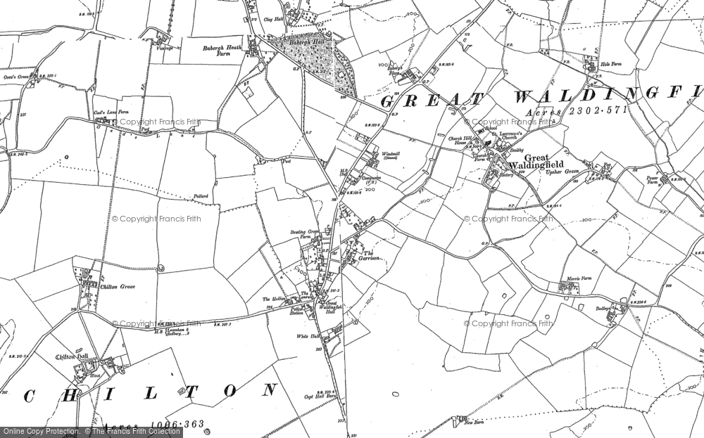 Old Map of Historic Map covering Babergh Hall in 1885