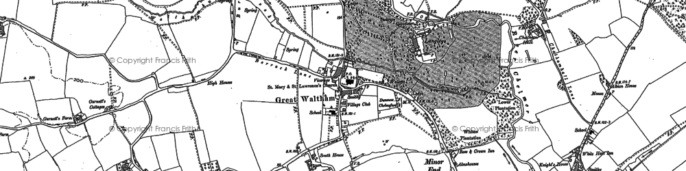 Old map of Great Waltham in 1895