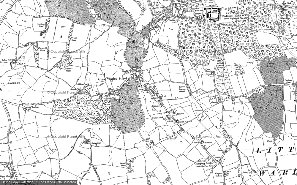 Old Map of Historic Map covering Tylers Common in 1895
