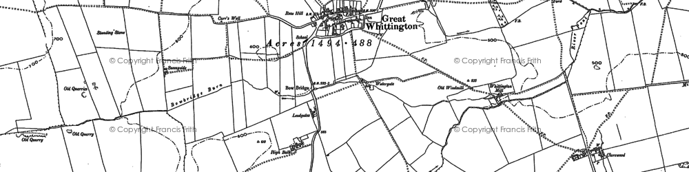 Old map of Whiggs, The in 1895