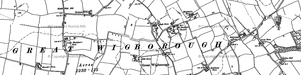 Old map of Abbotts Hall in 1895