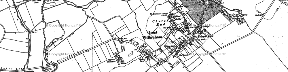 Old map of Wilbraham Temple in 1885