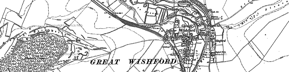 Old map of Great Wishford in 1899