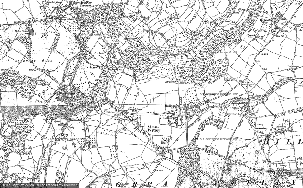 Old Map of Historic Map covering Abberley Hall in 1883