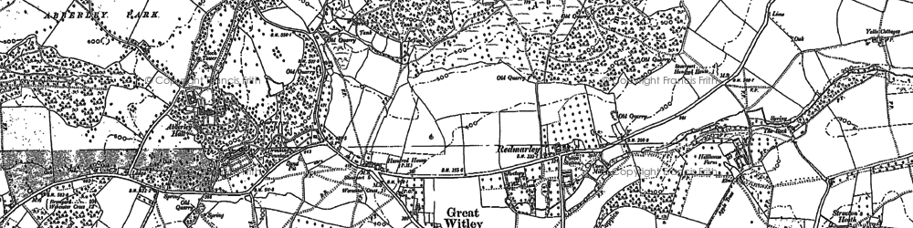 Old map of Great Witley in 1883